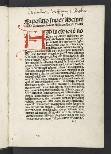 Ownership inscription in Albertus Magnus [pseudo-]: Secreta mulierum et virorum (cum expositione Henrici de Saxonia)