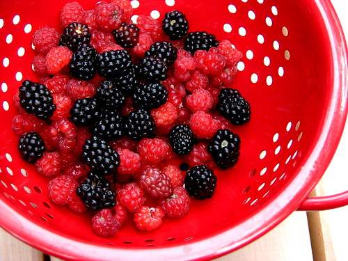 raspberries and blackberries from our yard