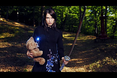 A Girl And Some Tunes: The Girl With The Magic Bear (laurent.lagarde) Tags: portrait eos story portraiture blade katana cinematic narrative pocketwizard beautydish 580exii laurentlagarde 5dmkii agirlandsometunes kaceybeautyreflector
