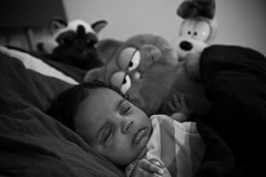 Slumber Party (Alexandre1983 Photography) Tags: bw baby beautiful eos blackwhite babypicture myworld sleepingbaby portraint blackwhitephotos canon60d lightroom3 alexandre1983