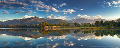 POKHARA - MY HOME, MY LOVE, MY PARADISE :) (Anton Jankovoy (www.jankovoy.com)) Tags: morning nepal lake mountains reflection sunrise town hills himalaya range pokhara annapurna