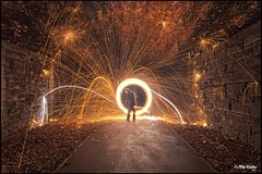 A fiery tale (Mike Ridley.) Tags: uk longexposure lightpainting night dark underground fire fireworks flames tunnel firework beamish burn nightscene wirewool lightpainted canonef1740f4l canon5dmkll fellwalker1
