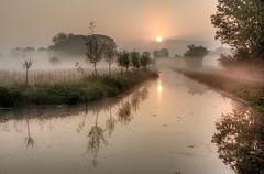 Morning Mist 5 (genf) Tags: morning pink trees orange mist water sunrise early bomen mood quiet pastel sony atmosphere hdr amstel amstelveen zonsopgang nwn ouderkerk tmt a700 ochtendmist hdr3 100commentgroup