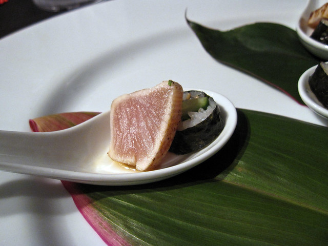 Seared albacore tuna, cucumber maki, ponzu