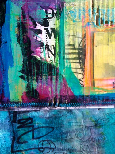 painted graffiti panel stitched to fusion dyed collage