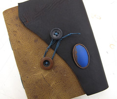 trade :: blue and brown (Quill and Arrow Press) Tags: thread leather book buttons jewelry trade pendant enamel electroforming bethschaible quillandarrowpress kristiglick
