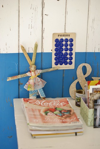 happy hare, blue buttons & mollie makes by wood & wool stool