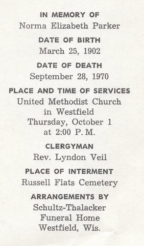 Funeral Card for Norma E Parker
