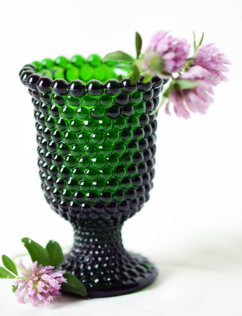 Vintage Hobnail Green Glass Vase