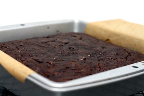 baked brownies in pan