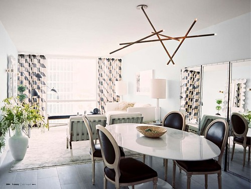 1 - Stunning Chandelier with Ballard Designs mirrors and chairs from Lonnymag JulyAug11, Interior Design Ideas and Inspiration