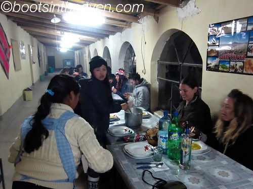 dinner at the VERY COLD refugio