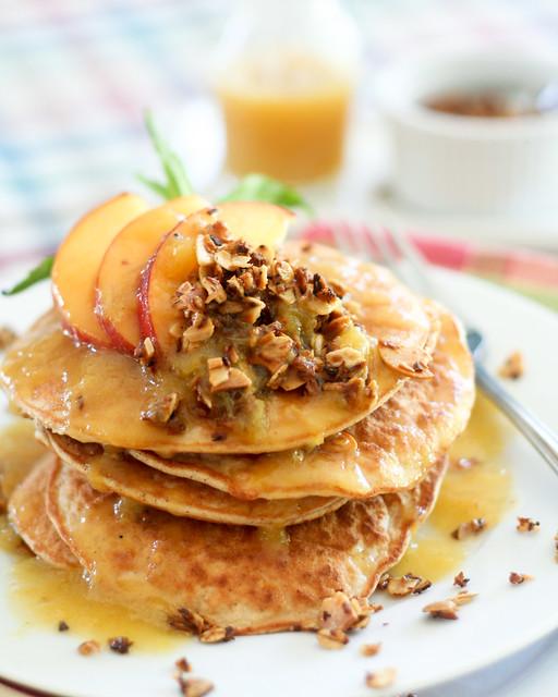 Peach Cobbler Coconut Pancakes