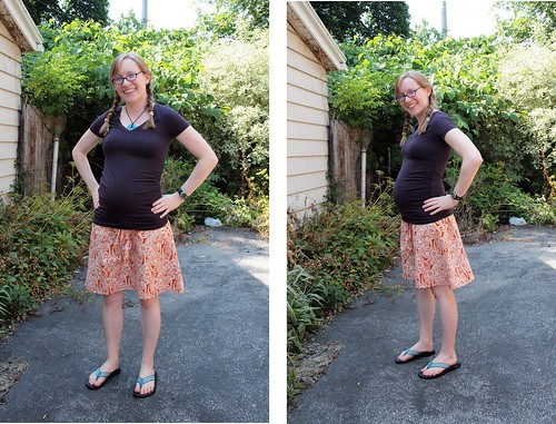 maternity skirt orange 2 views