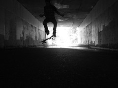 (Hauberk Photography) Tags: white black self skateboarding trick sewer timer