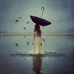the world above (brookeshaden) Tags: ocean water hat rain birds umbrella dof dress otherworldly brookeshaden texturebylesbrumes wwwframedshowcom framedshow