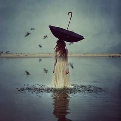 the world above (brookeshaden) Tags: ocean water hat rain birds umbrella dof dress otherworldly brookeshaden texturebylesbrumes wwwframedshowcom framedshow