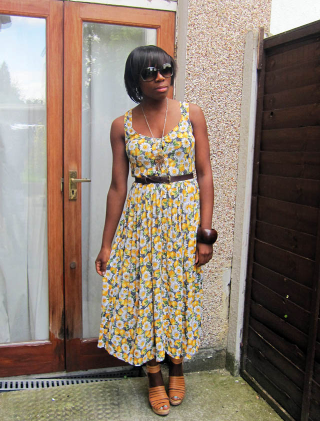 vintage sunflower and lemon print dress