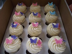 Butterfly Birthday Cupcakes (Beach House Bakery) Tags: pink blue glitter butterfly cupcakes purple cupcake vanilla swirl frosting