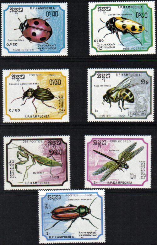 Známky Kambodža 1988, séria chrobáky
