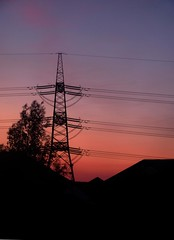 Sunset Pylon (langleyo) Tags: sunset sky colour silhouette night fire evening power dusk cable pylon electricity langleyoblog
