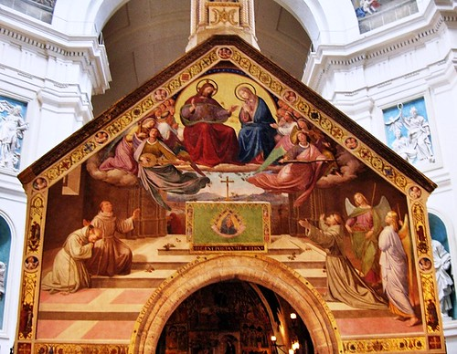 Fresco en la Fachada de la Capillita de la Porciuncula