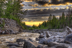 Sunset over Sandy River along Ramona Falls Trail - HDR (David Gn Photography) Tags: trees sunset sky water clouds oregon creek river landscape sand rocks stream loop hiking pebbles trail rhododendron hdr sandyriver 3xp mounthoodwilderness canoneos7d sigma2470mmf28ifexdghsm mygearandme sigma50th rmonafalls