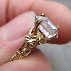 Herkimer Diamond and Gold Ring (AshleighAnnette) Tags: 2 wire hand made goldfilled handmadejewelry herkimerdiamondquartz roughstonering ringraw52
