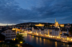 Blue Hour view of Zurich (andreaskoeberl) Tags: city longexposure blue night clouds river lights switzerland nikon university cityscape zurich citylights bluehour eth lindenhof limmat 1685 ethzurich universittzrich d7000 nikon1685 nikond7000 andreaskoeberl