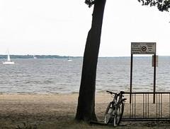 Oka Park beach & sign (Flicker Classic Person) Tags: lake canada beach bike sign swimming boats stand quebec qubec nudist naturist safe plage fkk 2011 naturiste nudiste okapark freebeach parcdoka okapulco plagelibre