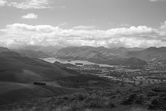 View over Derwent Water Mono (CanonGirl101) Tags: cloud mountain lake tree field rural exercise walk hill lakes lakedistrict hike trail cumbria summit derwentwater keswick slope buttermere trigpoint skree hopegarden 5dii tezz5d2