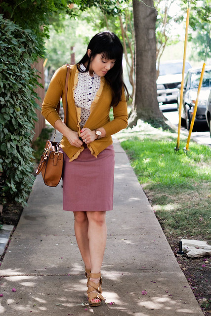 j. crew chiffon placket cardi j. crew super 120s pencil skirt forever 21 polka-dot top melie bianco madison mk5430 forever 21 leopard skinny belt