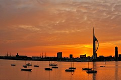 Spinnaker Dawn (Mark A Jones (Andreas Jones Photography)) Tags: sea england sky sun seascape boats nikon harbour portsmouth spinnakertower gosport leefilters d700