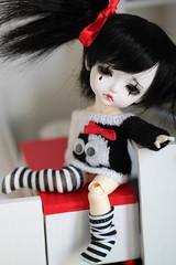 Lulubell (Aya_27) Tags: red white black cute girl yellow socks doll sweet girly clown special lea spike bjd lovely tear custom dollfie limited pierrot mystic dollie latidoll packman lulubell lati sadlook faceupbyandreja sweaterbyaysel
