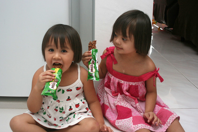 Nadine and Jolie testing the Milo bars...