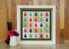 droplets mini quilt (lusummers) Tags: flowers paper droplets stamps multicoloured felt frame jug vase paperquilt fatquarterly