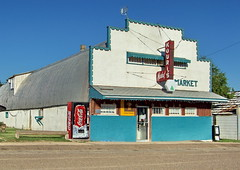 SKSW11g9A Kouri's Market, Mankota Saskatchewan (CanadaGood) Tags: blue red white canada color colour building green shopping afternoon cocacola sk prairie saskatchewan groceries 2011 mankota canadagood thisdecade