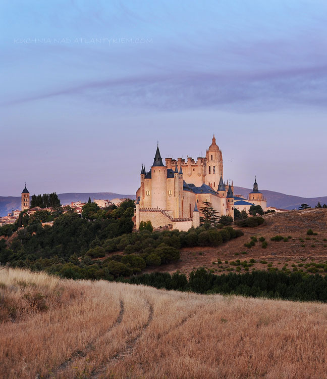 The last light over the castle of Segovia, Spain.