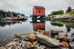Weighed Anchor (sminky_pinky100 (In and Out)) Tags: travel red canada texture tourism water reflections landscape boats rocks novascotia scenic anchor shack finegold omot cans2s picturepoemsflickrsbestkeptsecret stonehurstcove perfectioninpicturessupremeimages