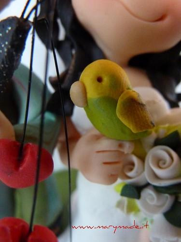 Cake topper per matrimonio con pappagallo (buggie)