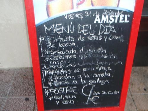 Zaragoza | Zeissa | Pizarra menú