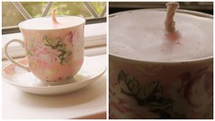 (Samantha E Dennant) Tags: pink flower cup collage pretty candle saucer wick
