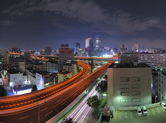 Panorama view of my favorite junction (Shin-Nagoya) Tags: panorama japan lowlight nagoya nightphoto  aichi  lighttrail lightstream jct  afsnikkor1424mmf28g