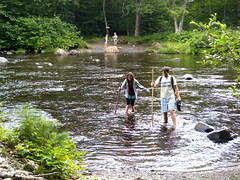 Crossing the west branch, Pleasant River (ems18) Tags: chris summer hiking jennifer maine august appalachiantrail screwaugerfalls gulfhagas 100milewilderness piscataquiscounty