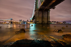 Underneath The Brooklyn Bridge. (Explore #18 - August 7th, 2011) (Rares M. Dutu) Tags: new york city nyc bridge love brooklyn night speed lens photography aperture nikon long exposure cityscape slow cloudy tokina shutter f8 f4 1224 lenses d7000