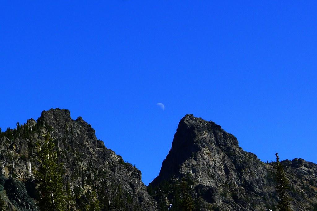 Moon Above Esmeralda Peaks