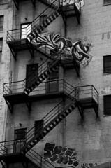 (danehillard) Tags: old city urban blackandwhite bw white black building brick art metal architecture fire photography graffiti photo blackwhite paint image tag picture pic photograph vandal vandalism fireescape dane exit fireexit hillard danehillard nikond7000