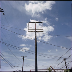 (Ansel Olson) Tags: blue sky 120 6x6 mamiya tlr film lines sign metal clouds mediumformat virginia wire power panel kodak empty utility richmond wires va frame portra barbed c330 160nc c330s mamiyasekor55mmf45