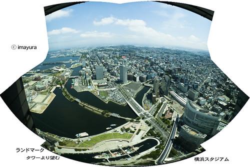 ランドマークタワーより望む横浜スタジアム