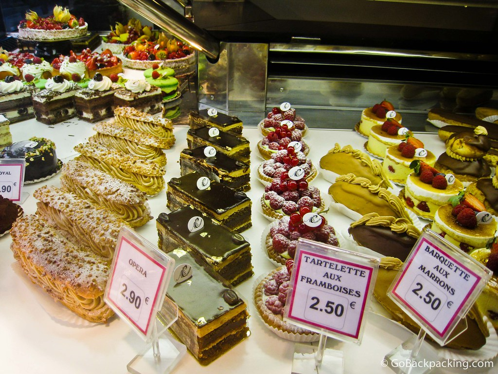 Parisian pastries and tarts at a cafe in the French capital.